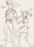 Early Lev and Terra sketch by ThreadandClaws