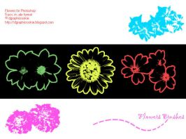 Free Flower Brushes Set 1 by dgraphicrookie