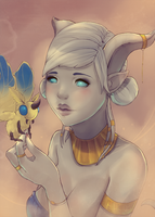 A draenei and her moth by ipheli