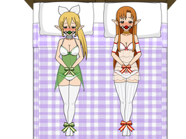 Bed Time-Rifa and ALO Asuna by misteryo301