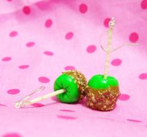 Green Caramel Apple EARRINGS by xlilbabydragonx