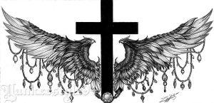 Cross with Wings TATTOO by Yankeestyle94