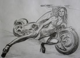 biker chick - Pencil sketch by Thelostsoulofpop