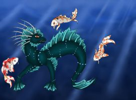 Red Eyed Water Dragon by Lost-Fable