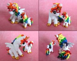 Mama and Baby Rainbow Ponies 2 by DragonsAndBeasties
