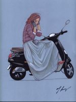 Girl on a Scooter by rodfern2011