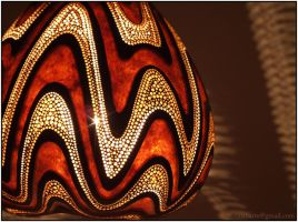 Hanging gourd lamp IV night 3 by Calabarte