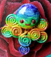 Rainbow Octopus Magnet by BlackMagdalena