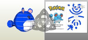 Pokemon Mini Marill Papercraft Preview by HellswordPapercraft