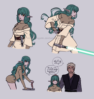 Aira-ty Jedi AU sketches by rayn44