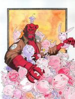 Hellboy vs. Cute. by hedbonstudios