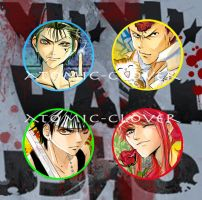 Yu Yu Hakusho Button Set by Atomic-Clover