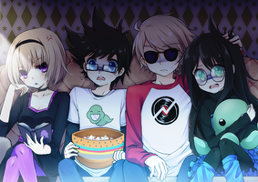 homestuck: movie night by Moorina