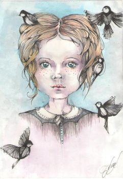 Girl with birds by bilberry-art