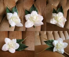 White Rose and Spray Boutonniere by ValkyrieOfODIN