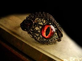 Fire Dragon Bracelet - Wire Wrapped Eye Lace Cuff by LadyPirotessa