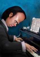 Nick Cave caricature 2010 by JohnMalcolm1970