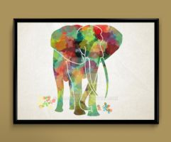 Elephant watercolor print poster by ColourInk