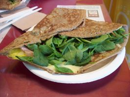 Spinach Cheese Ham and Egg Crepe by GuardianAngel4Wolves