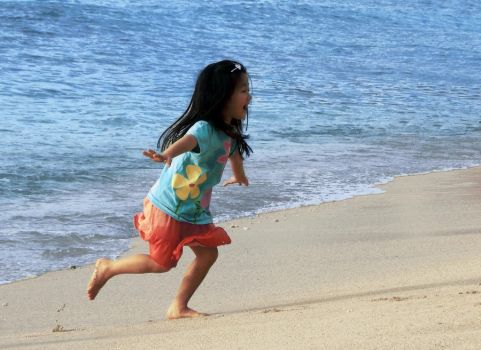 Girl Running On Beach by obiter-dictum