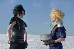 Zack and Cloud - first meeting by SerinuCeli