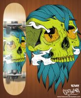greenskull skate deck by FLatwork
