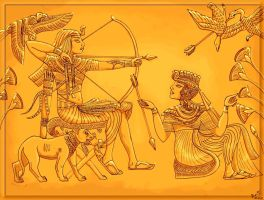 Egyptian hunting scene colour by SirLordAshram