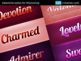 Valentine styles for Photoshop - pink text effects by 123creative