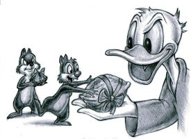 Donald Duck, Chip,  Dale by zdrer456