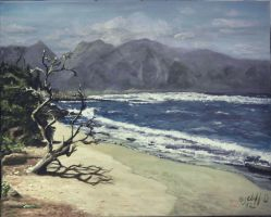Hawaii on the beach my painting by cliford417
