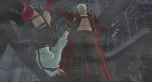 Dante looks down Lady's skirt by VergieLuv
