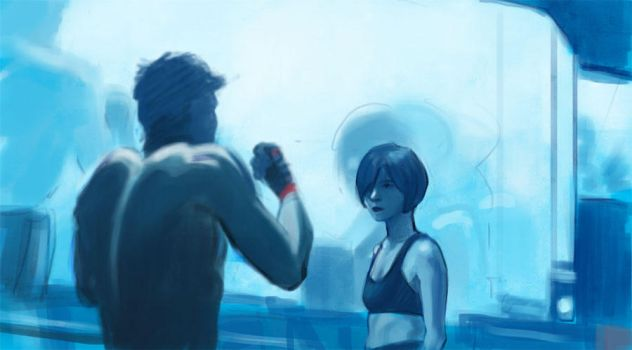 Study: Blue Boxing by ladymadeofglass