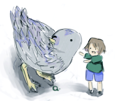 giant pigeon or little kid by anna62a