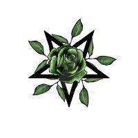 Green Rose pentagram by rockgem