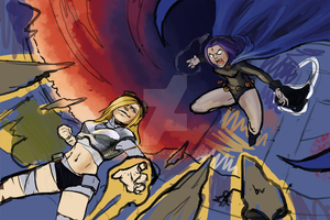 (WIP) Teen Titan - Raven vs Terra by PotatoPC