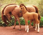 OOAK Wool felt fabric Mare and foal by Tawneyhorses