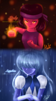 Steven Universe: Ruby and Sapphire by MirrorglassArts