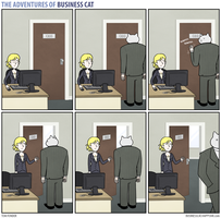 The Adventures of Business Cat - Door by tomfonder