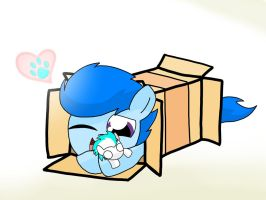 Blue Flame sliding into a box by Luxjii