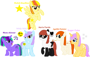 My mane 6 with their names and cutie marks by Nefeloma21