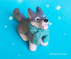 Winter Wolf with scarf sculpture by SculptedPups