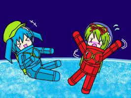 Nitori and Hina in Spacesuit 4 by Nekomi4
