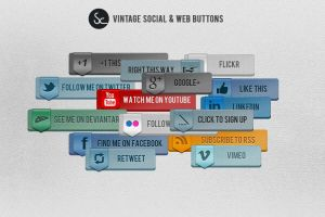 Vintage Social and Web Buttons by KronenDesign