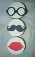 Mustache, Glasses and Red lips Velvid Cup Cakes by KambalPinoy