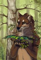 wolf and birdy by Folkwe