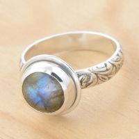Labradorite Ring with Floral Band by metalsmitten