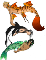 Merman adoptables by wolf-wishes