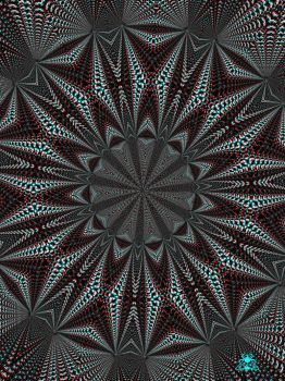 Anaglyph 3D Psychedelic kaleidoscope pattern by brummerart
