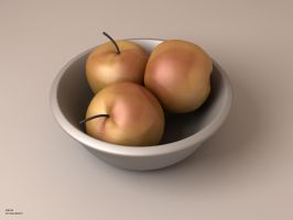 Three Apples in a Bowl by zbyg