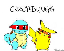Teenage Mutant Ninja Pikachu and Squirtle by littlekittycatx